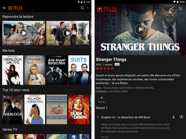 Capture d'écran de l'application Netflix