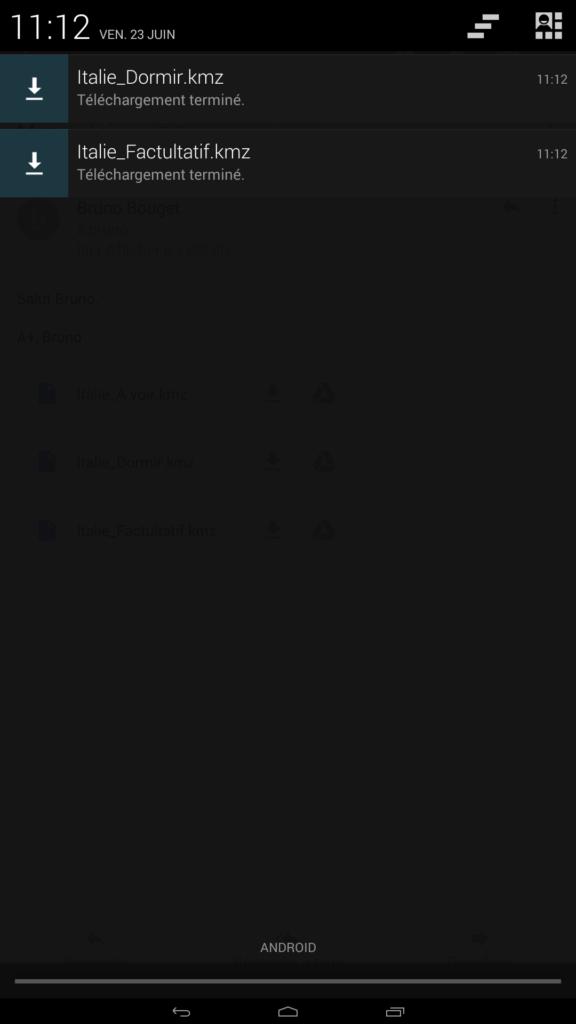 Capture d'écran notifications fichiers kmz téléchargés