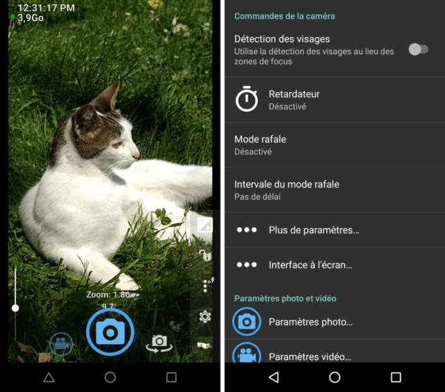 Capture d'écran de l'application Open Camera