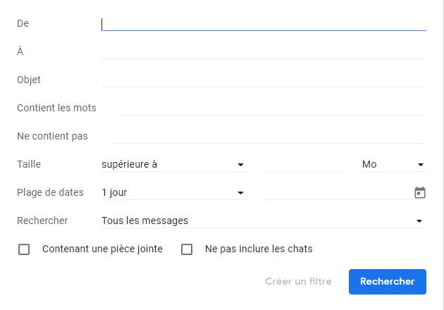 Capture d'écran du site Gmail, options de recherche.