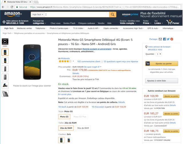 Capture d'écran du site Amazon, page produit.