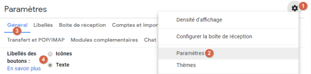 Capture d'écran du site Gmail, paramètre libellés des boutons, icônes ou texte.