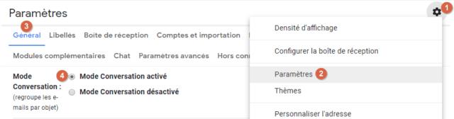 Capture d'écran du site Gmail, paramètres mode conversation.
