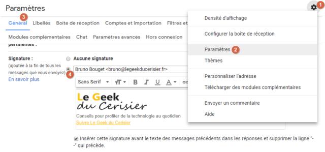Capture d'écran du site Gmail, paramètre signature.