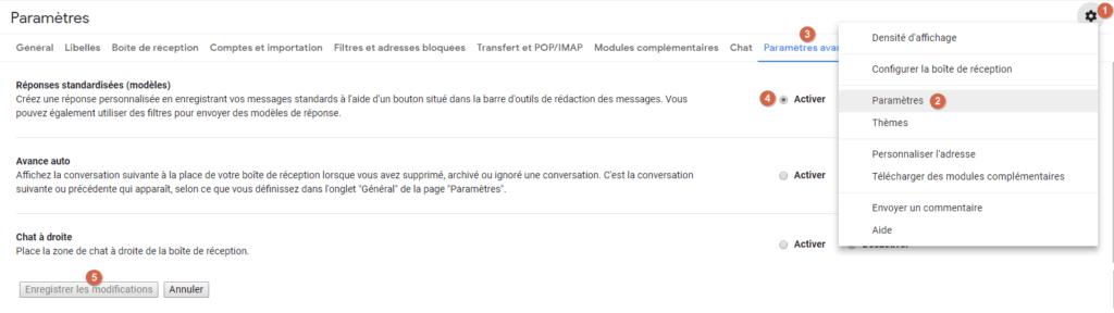 """Capture d'écran du site Gmail, activation du paramètres avancé """"réponses standardisées""""."""