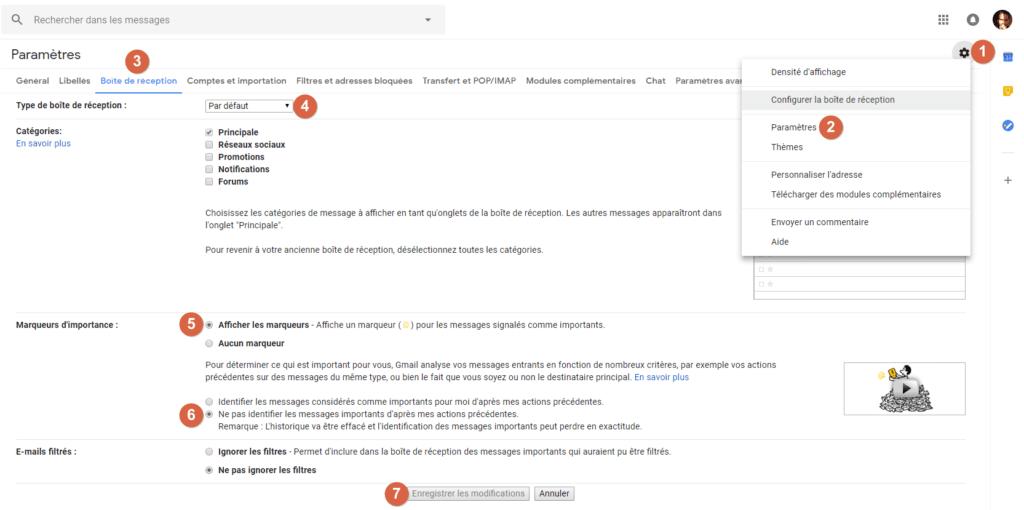 Capture d'écran du site Gmail, paramètres Boite de réception et marqueurs importance