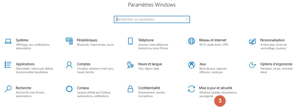 """Capture d'écran des Paramètres Windows, bouton """"Mise à jour et sécurité""""."""