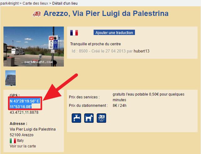 Capture d'écran du site park4night : sélection et copie des coordonnées GPS