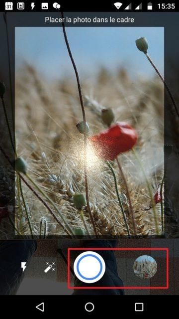 Capture d'écran de l'application PhotoScan, capture terminée