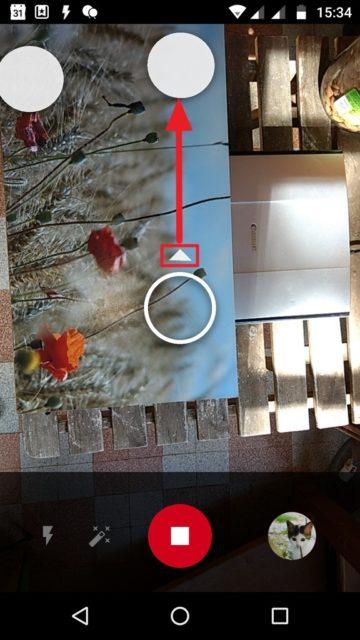 Capture d'écran de l'application PhotoScan, prise de vue.