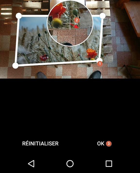 Capture d'écran de l'application PhotoScan, réglage des angles.