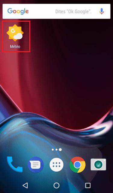 Capture d'écran de l'écran d'accueil Android avec le raccourci météo.
