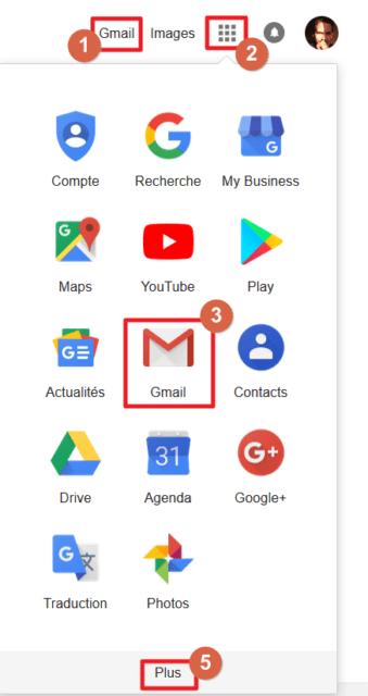 Capture d'écran du site Google Recherche, boutons raccourcis applications Google et Gmail.