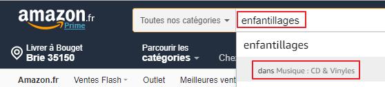 Capture d'écran du site Amazon.fr, recherche d'un album.