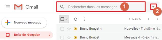 Capture d'écran du site Gmail, champ de recherche.