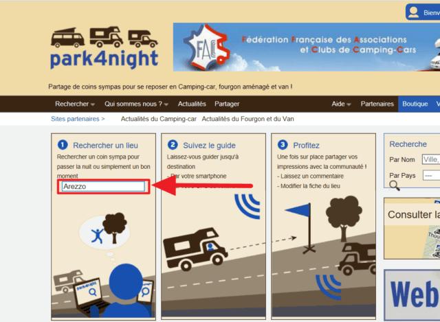 Capture d'écran du site park4night : recherche un lieu