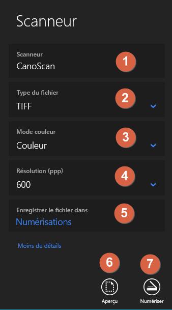 """Capture d'écran de l'application """"Scanneur""""."""