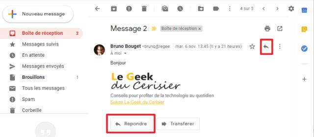 Capture d'écran du site Gmail, boutons pour répondre à un message.