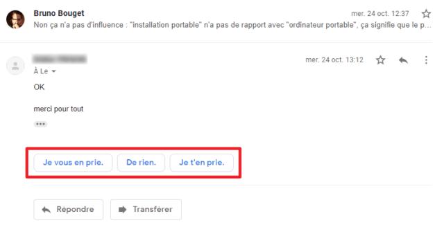 Capture d'écran du site Gmail, réponses suggérées.