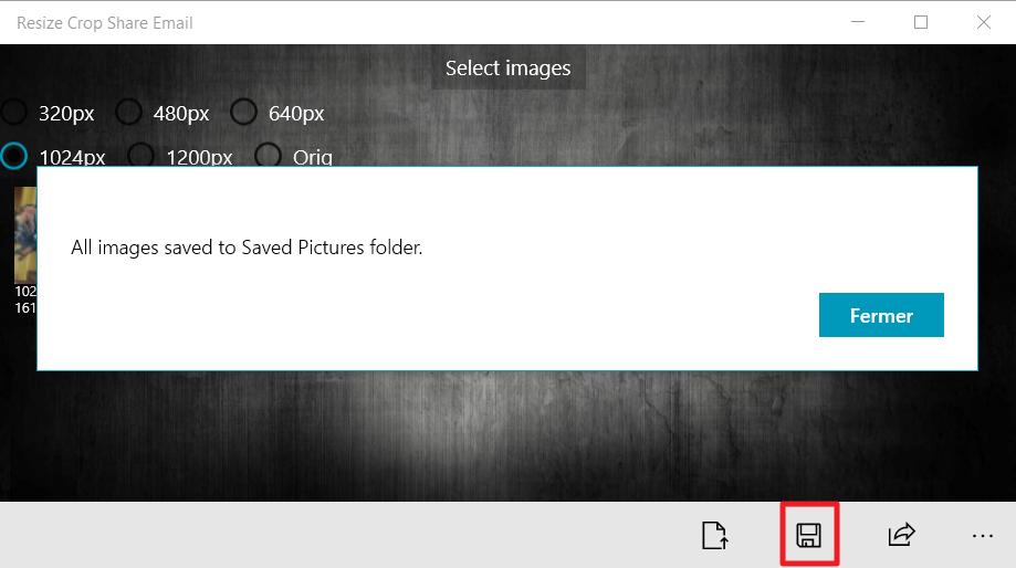 Capture d'écran de l'application Resize Crop Share Email, enregistrer.