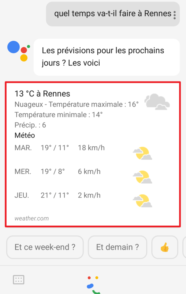 Capture d'écran de l'application Google assistant, résultat météo.
