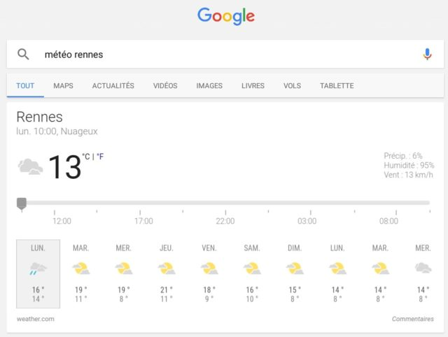 Capture d'écran de l'application Google, ancienne version vue météo.