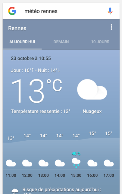 Capture d'écran de l'application Google, nouvelle version vue météo.