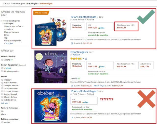 """Capture d'écran du site Amazon.fr, résultats de recherche de l'album """"10 ans d'Enfantillages""""; un article avec Téléchargement MP3 dispo, l'autre non."""