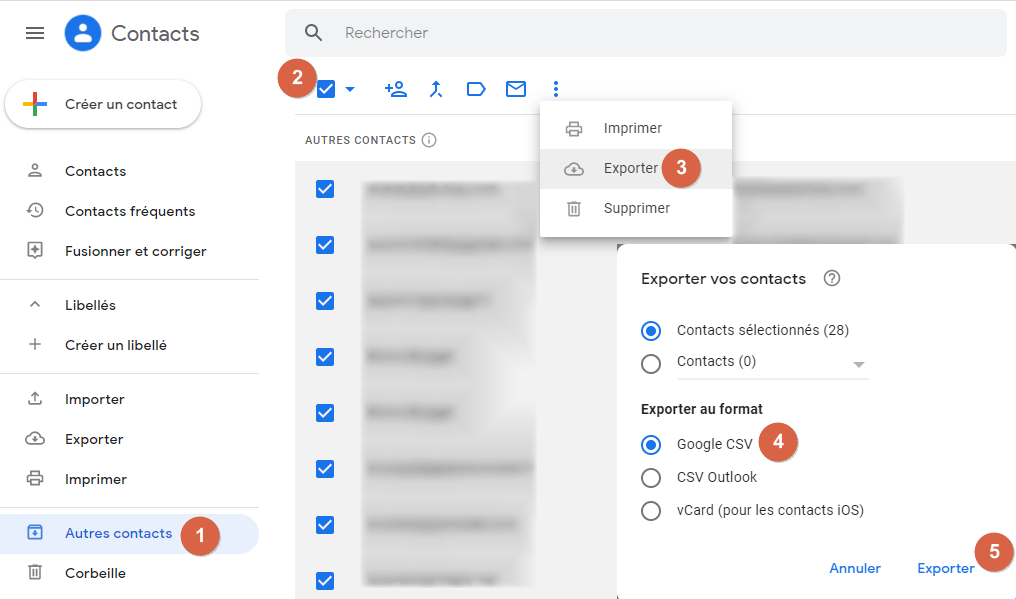 """Capture d'écran de l'application web """"Google Contacts""""."""