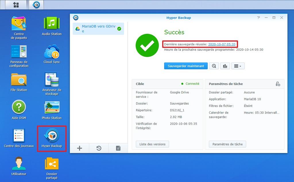 """Capture d'écran de l'interface web d'administration de NAS Synology, paquet """"Hyper Backup""""."""