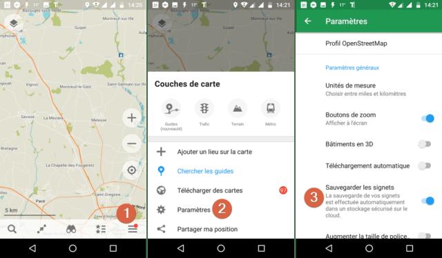 Capture d'écran de l'application Android Maps.me.