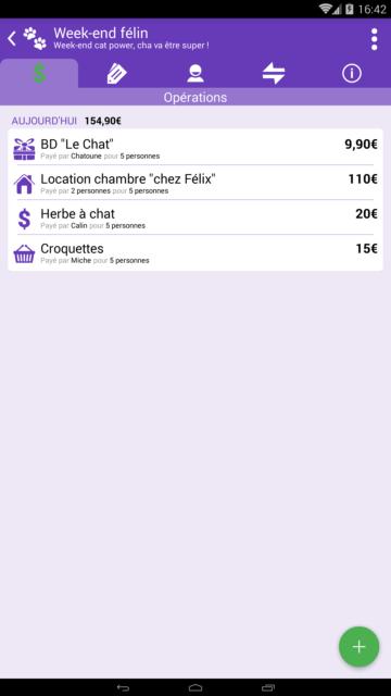 Capture d'écran de l'application Android Abcba (comptes entre amis), liste des opérations.