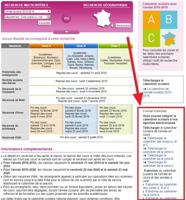Capture d'écran du site education.gouv.fr avec section des calendriers icalendar mise en évidence