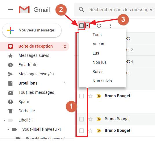 Capture d'écran du site Gmail, cases à cocher pour sélection messages pour actions en masse