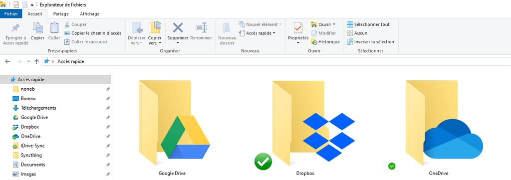 """Capture d'écran de l'application """"explorateur de fichiers Windows"""" montrant les dossiers Google Drive, Dropbox et OneDrive."""