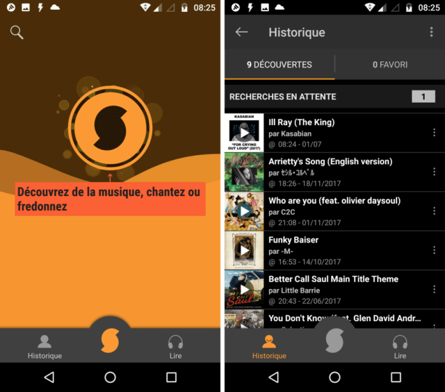 Capture d'écran de l'application SoundHound