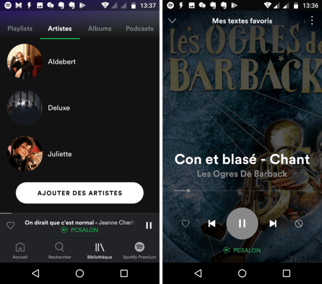 Capture d'écran de l'application Spotify