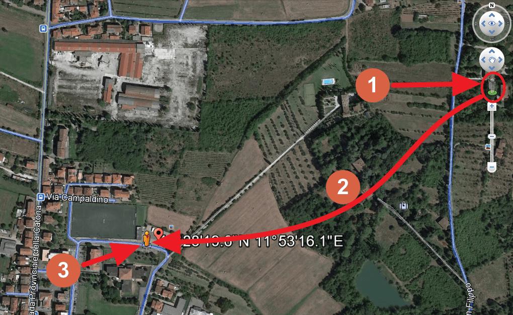 Capture d'écran Google Earth : utilisation du mode Street View
