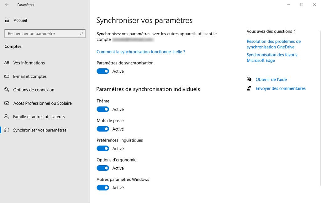 "Capture d'écran de l'application ""Paramètres"" de Windows 10."