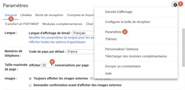 Capture d'écran du site Gmail, paramètre raille maximale de page.