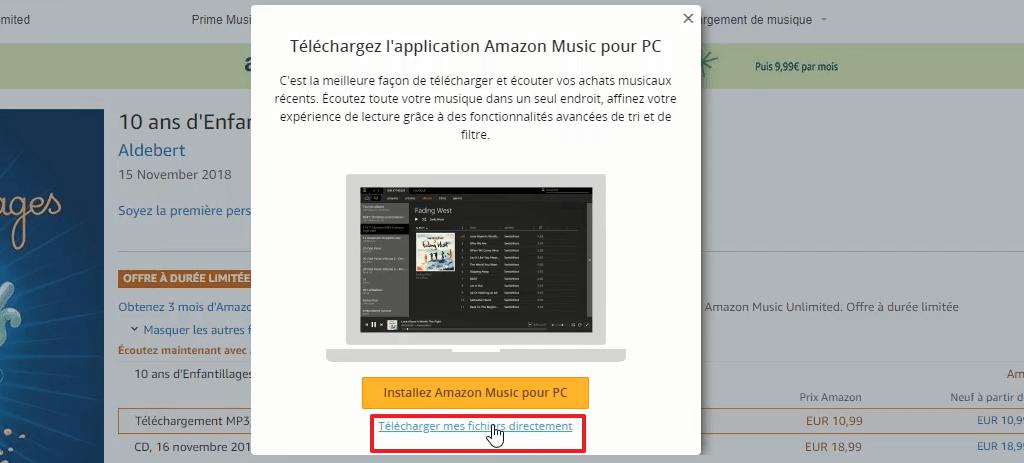 Capture d'écran du site Amazon.fr, télécharger directement les fichiers MP3 achetés.