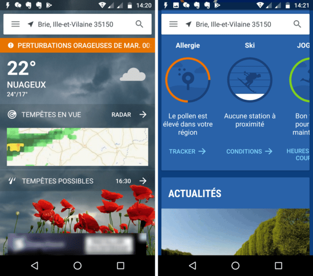 Capture d'écran de l'application The Weather Channel