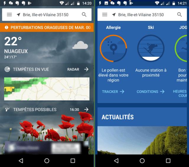 Capture d'écran de l'application The Weather Channel