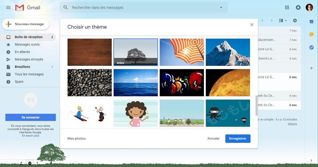 Capture d'écran du site Gmail, thème arbre choisi appliqué.