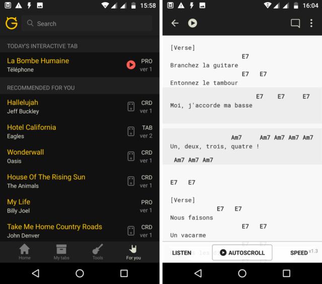 Capture d'écran de l'application Android Ultimate Guitar: Chords and Tabs
