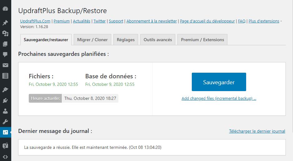 "Capture d'écran de l'extension WordPress ""UpdraftPlus""."