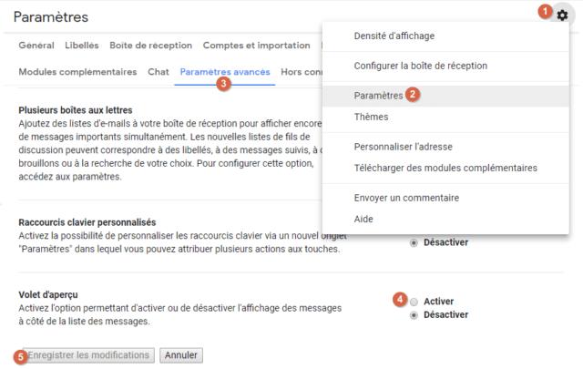 Capture d'écran du site Gmail, paramètres avancé volet d'aperçu.