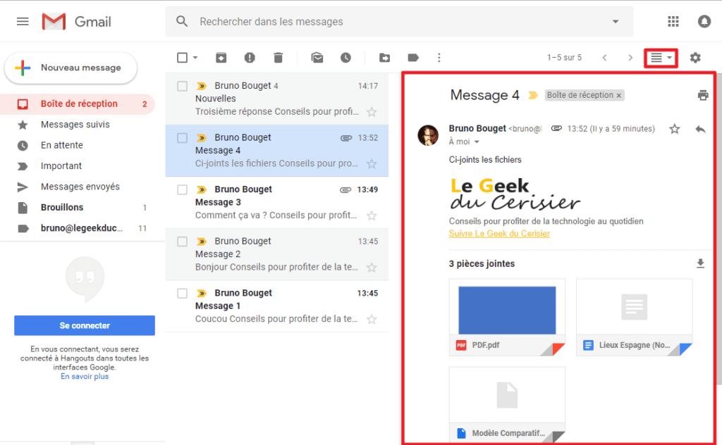 Capture d'écran du site Gmail, volet d'aperçu activé.