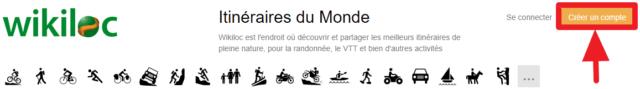 """Capture d'écran du site Wikiloc, bouton """"créer un compte"""""""