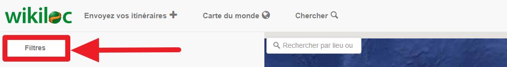 """Capture d'écran du site Wikiloc, bouton """"Filtres""""."""
